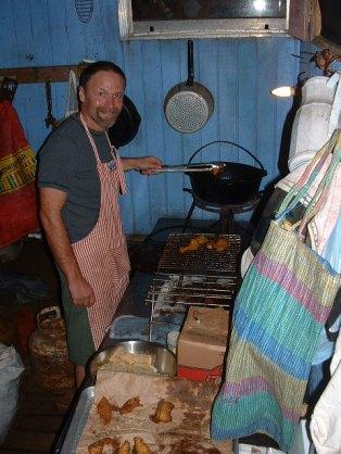 Chris' first fish fry - yum!